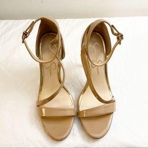 Jessica Simpson Rayli Nude Patent Strappy Stiletto Heels